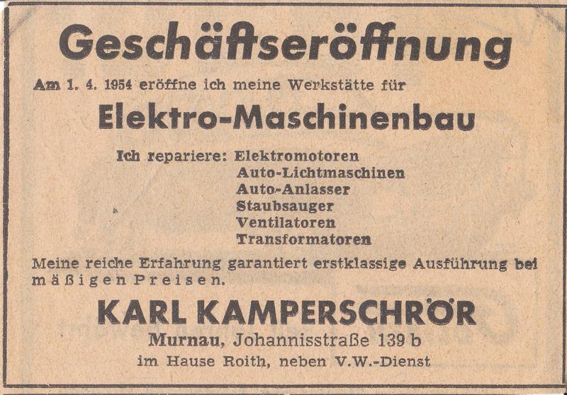 Inserat im Murnauer Tagblatt von 1954